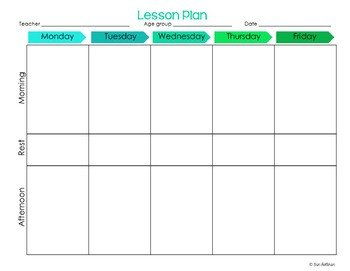 Daycare Lesson Plan Template Preschool Lesson Plan Templates Editable by Erin