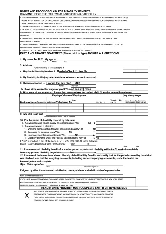 Db 300 form Fillable Notice and Proof Claim for Disability Benefits