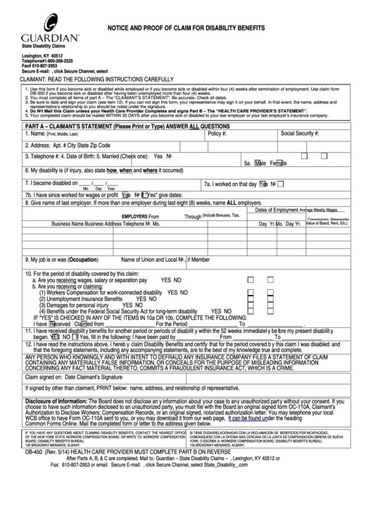 Db 300 form form Db 450 Notice and Proof Claim for Disability