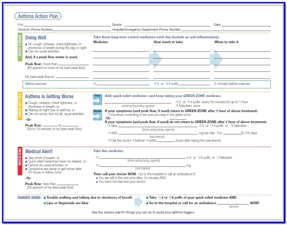Db450 form Part C asthma Action Plan for American Lung association form