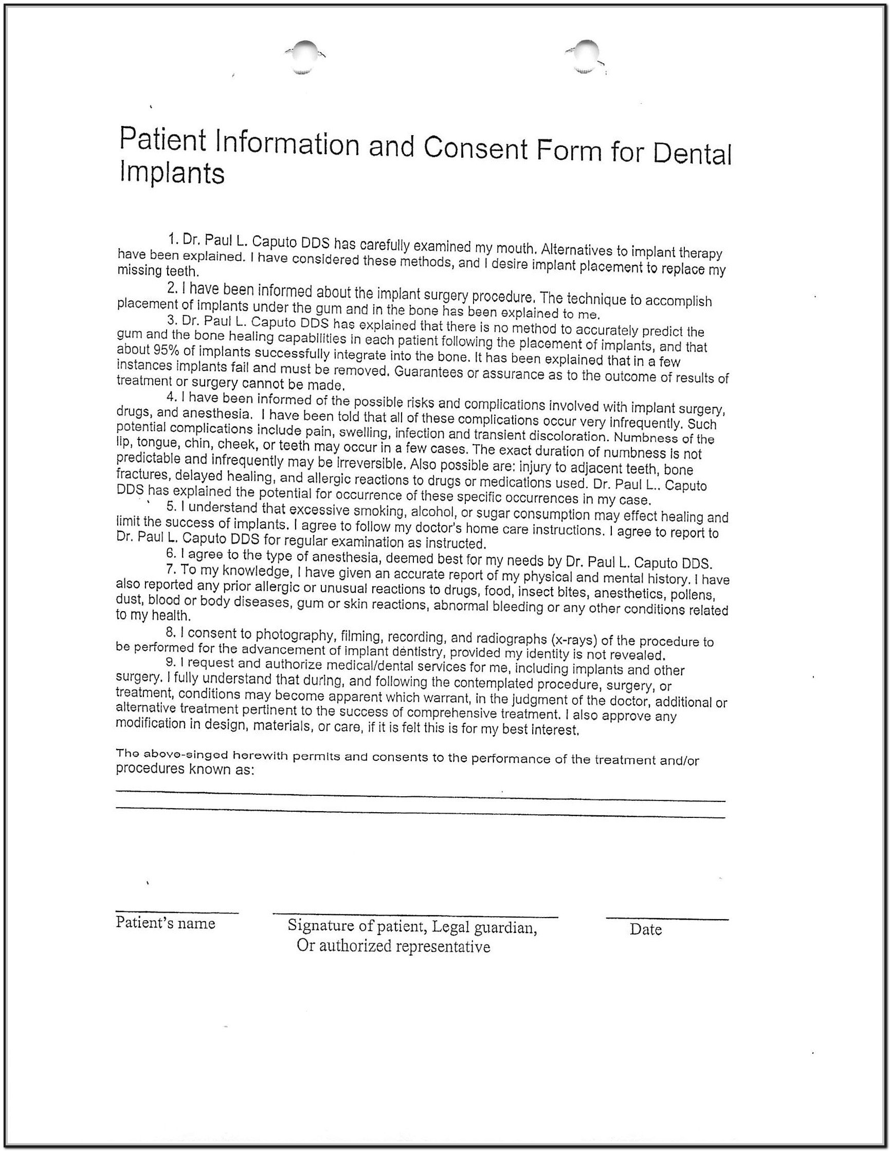 Db450 form Part C Dental Implant Consent form Template form Resume