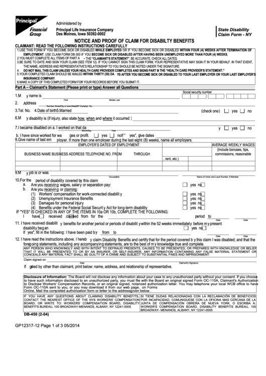 Db450 form Part C Fillable Db 450 form Notice and Proof Claim for