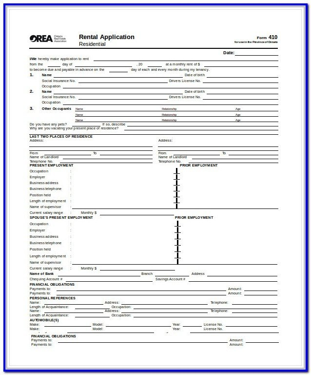 Db450 form Part C Standard Rental Application form form Resume Examples
