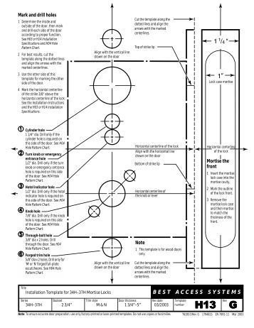 "Deadbolt Installation Template 2½ "" Backset Mortise Lock Template Omnia Industries"