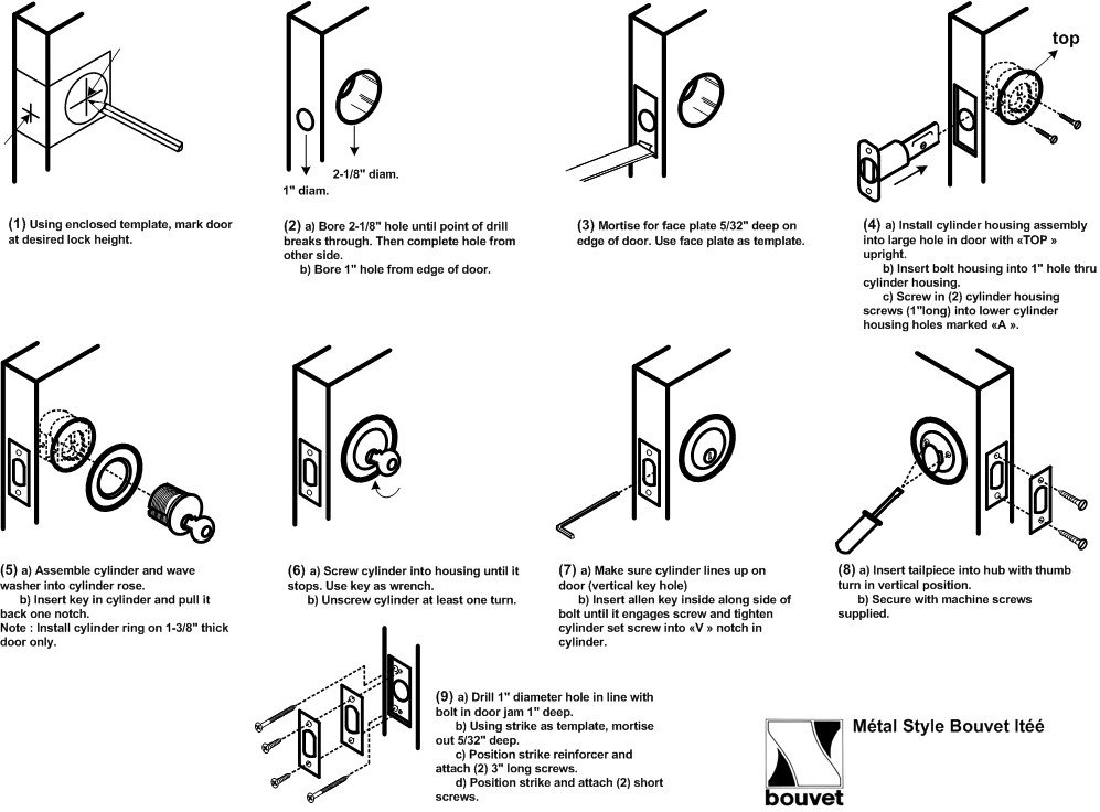 Deadbolt Installation Template Deadbolt Installation Instructions