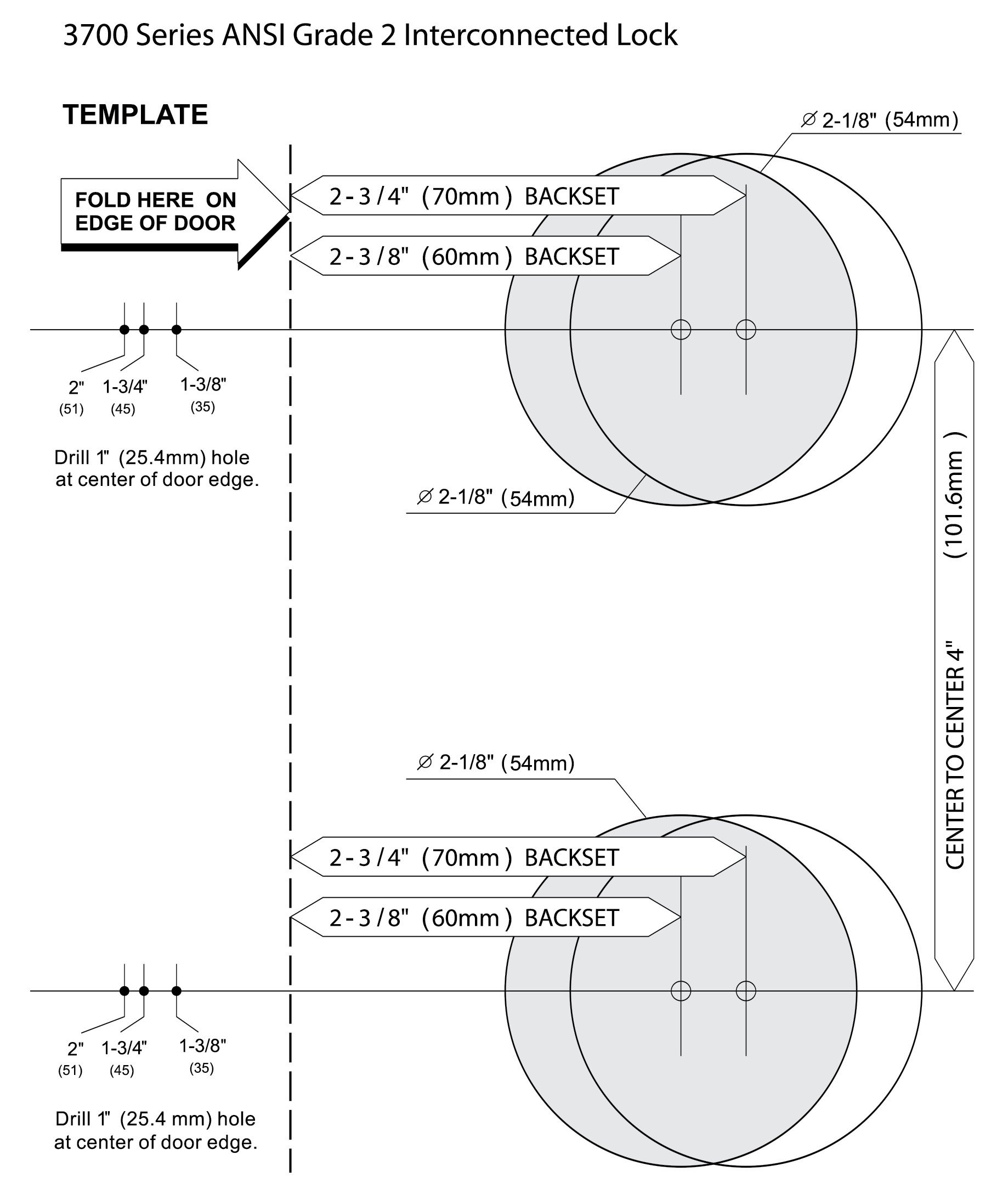 Deadbolt Installation Template Hager 3700 Series Grade 2 Interconnected Lockset