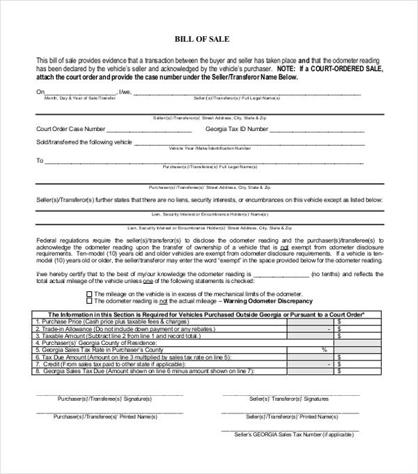 Dealer Bill Of Sale 14 Bill Of Sale Templates Free Sample Example format