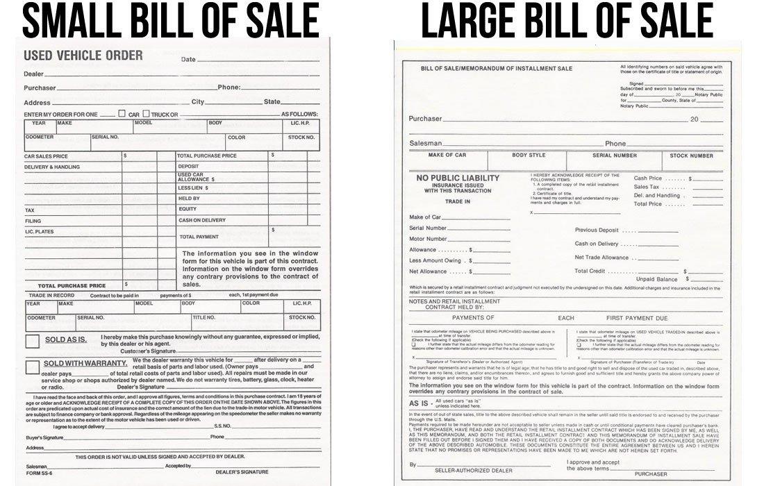 Dealer Bill Of Sale Bill Of Sale