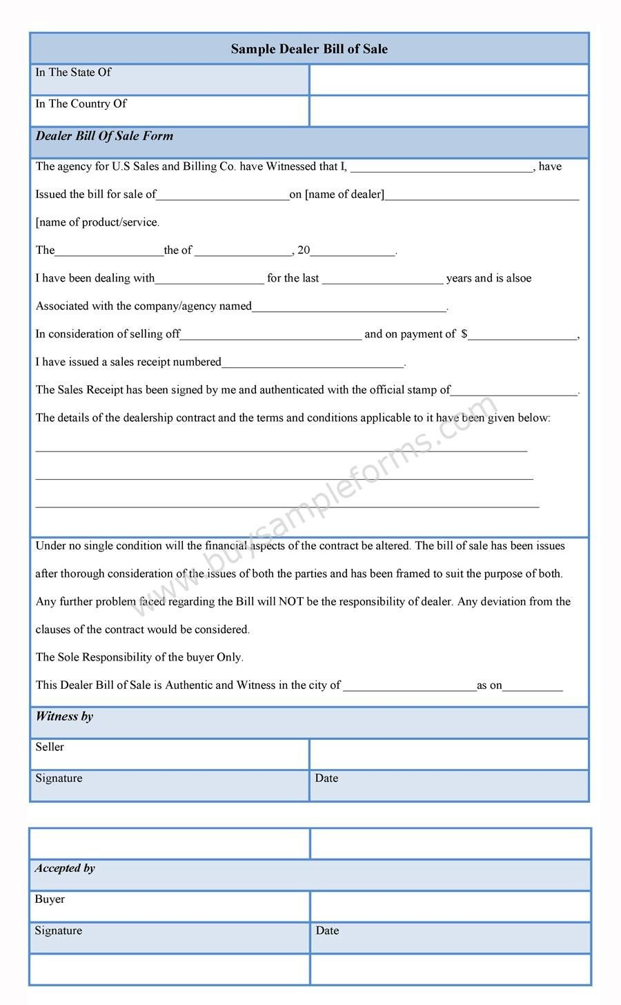 Dealer Bill Of Sale Dealer Bill Of Sale form