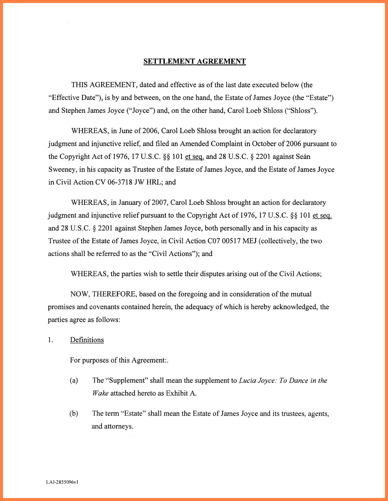 Debt Settlement Agreement Template 10 Settlement Agreement