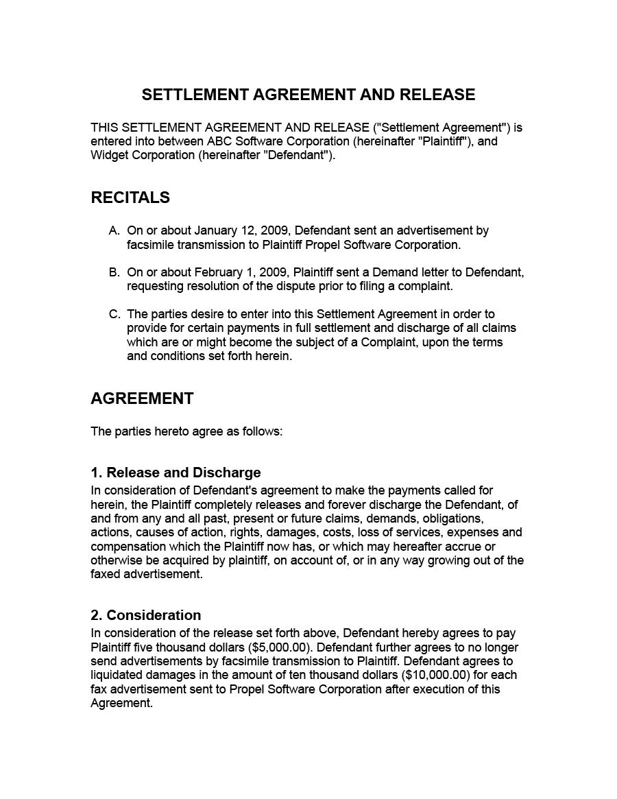 Debt Settlement Agreement Template 43 Free Settlement Agreement Templates [divorce Debt