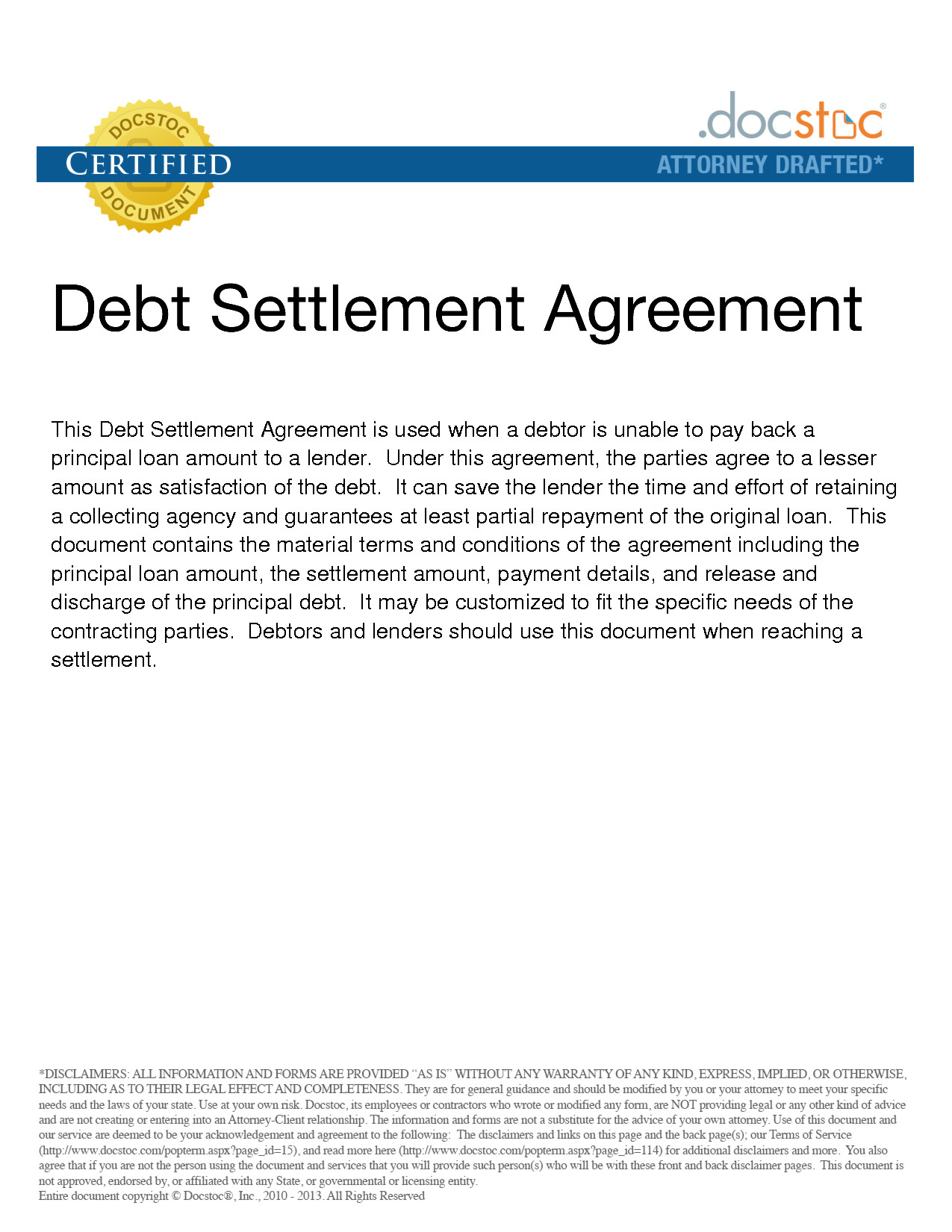 Debt Settlement Agreement Template Agreement Template Category Page 15 Efoza