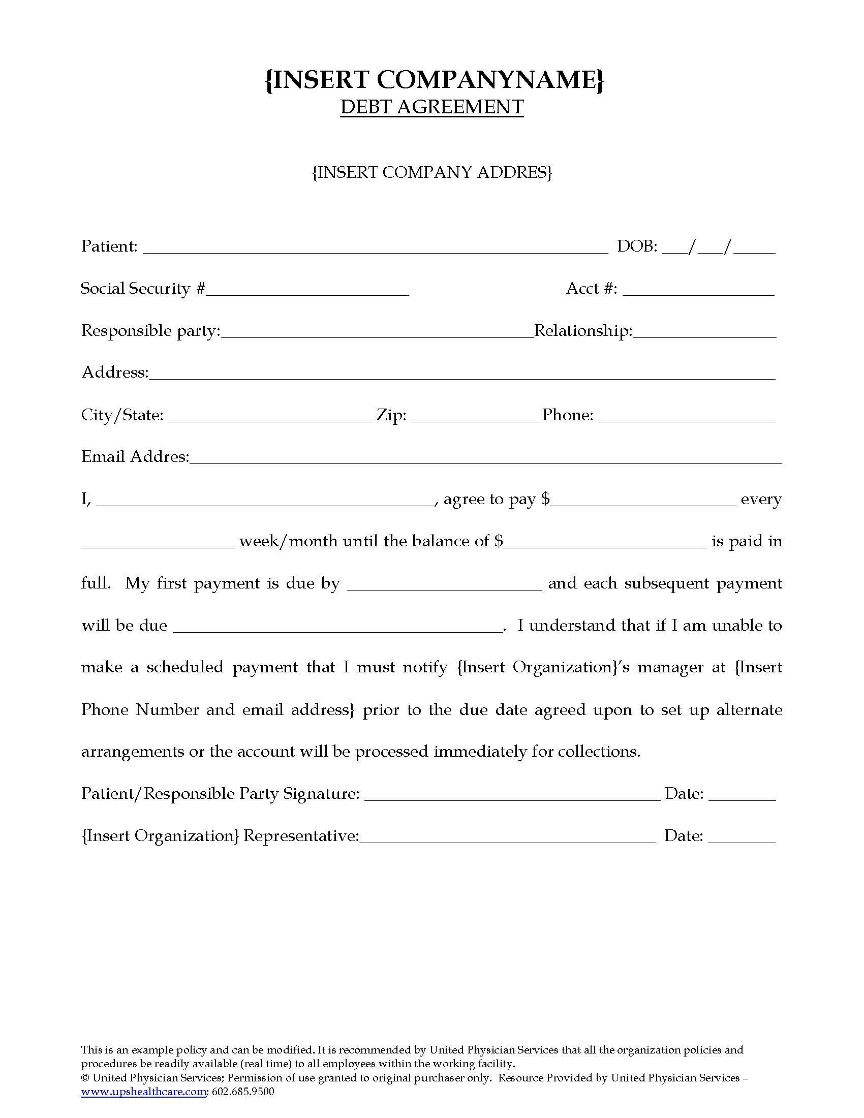 Debt Settlement Agreement Template Debt Agreement