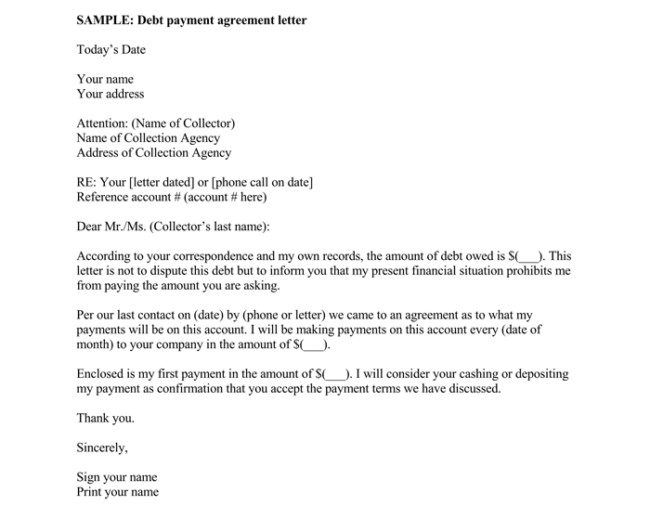 Debt Settlement Agreement Template Debt Letter Template 10 Samples for Word Pdf