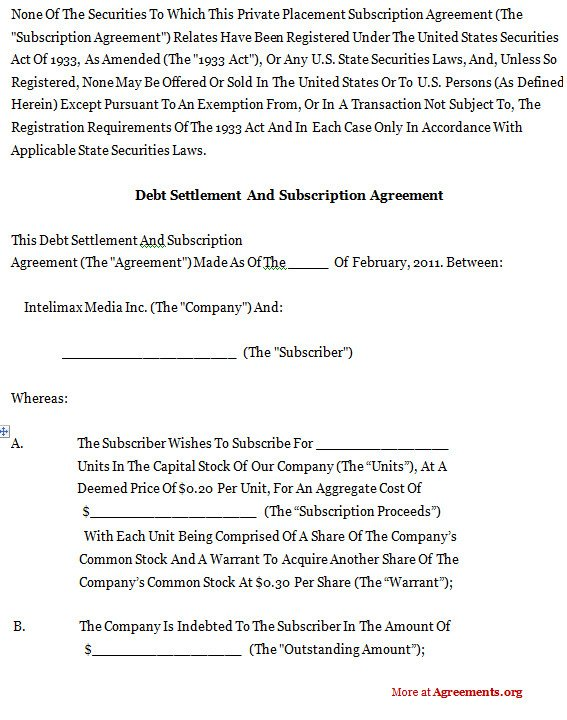 Debt Settlement Agreement Template Debt Settlement and Subscription Agreement Sample Debt