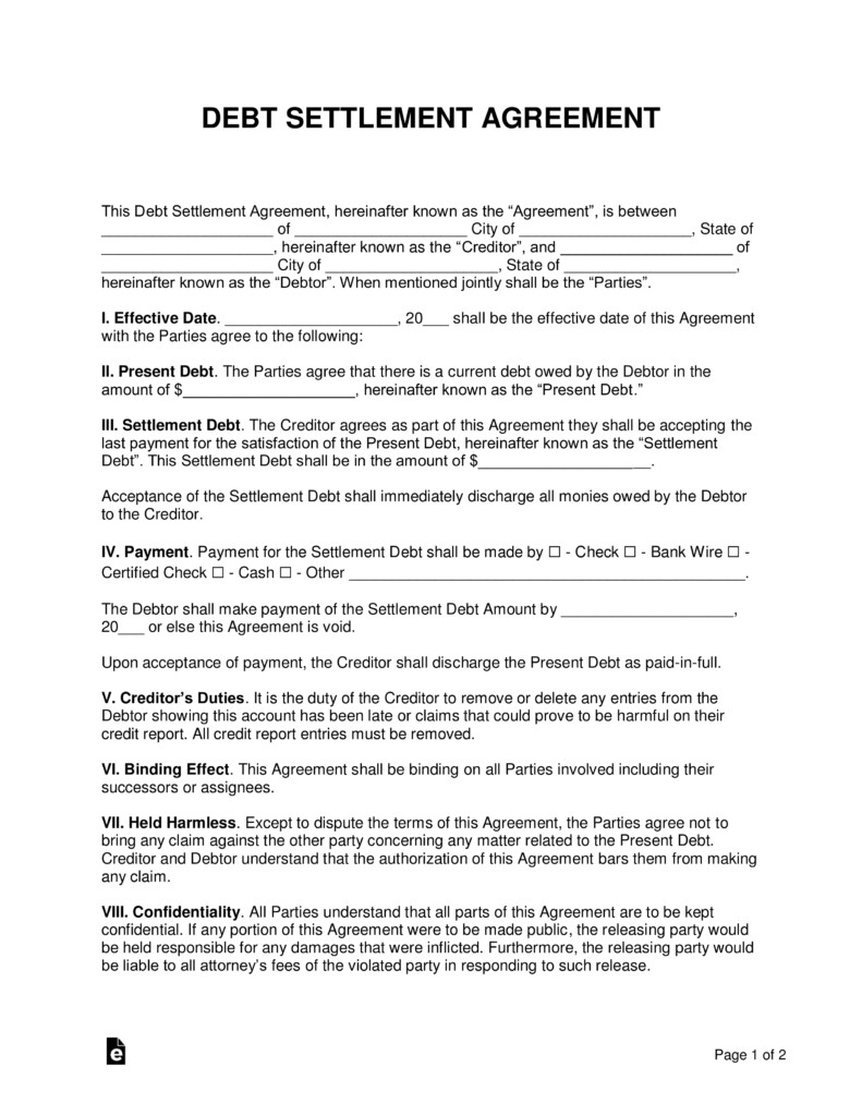 Debt Settlement Agreement Template Free Debt Settlement Agreement Template Sample Word