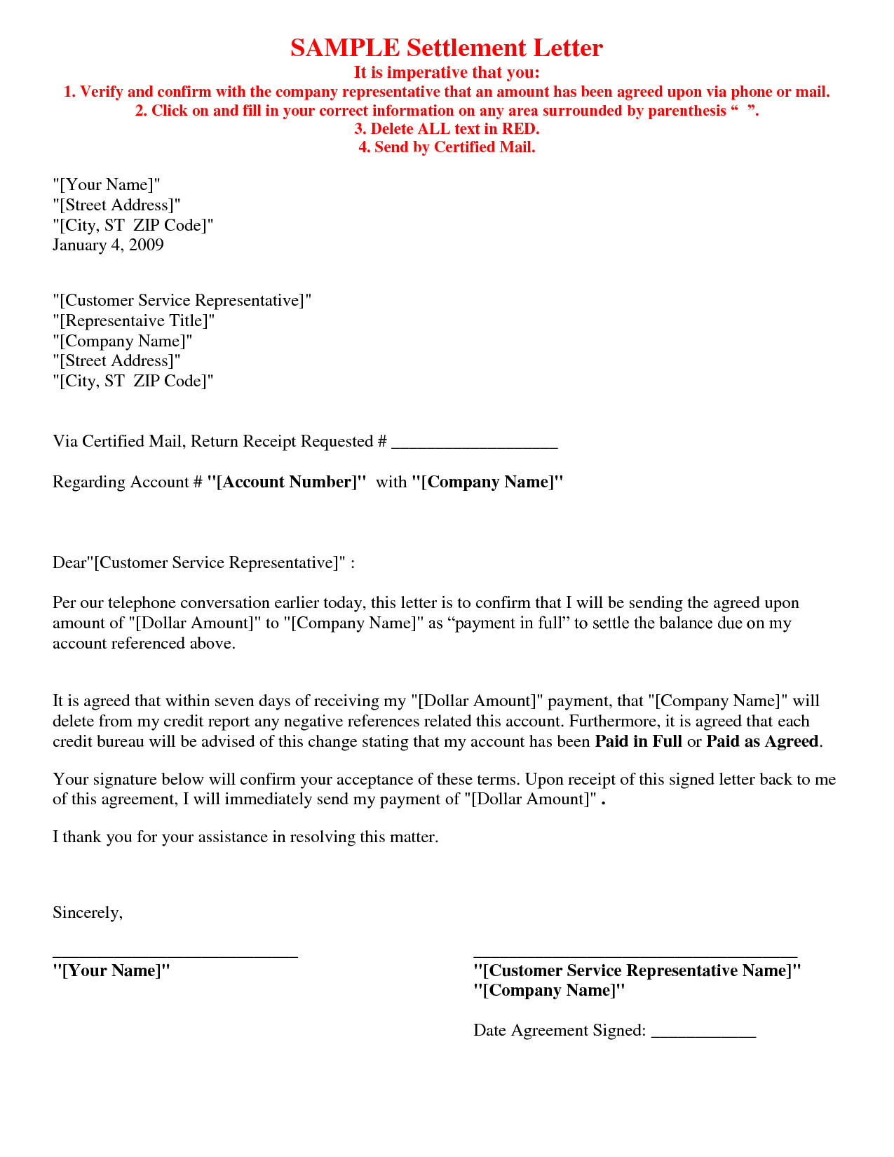 Debt Settlement Agreement Template Picture 5 Of 17 Debt Settlement Agreement Letter