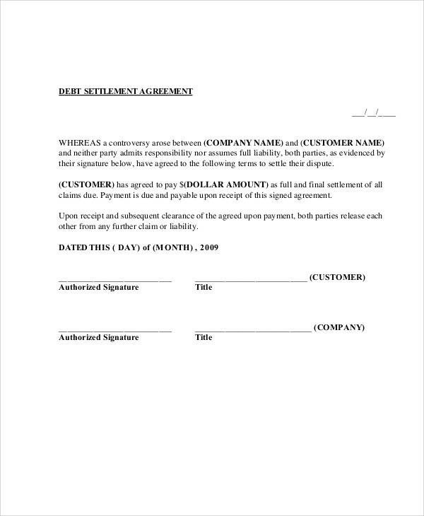 Debt Settlement Agreement Template Simple Agreements