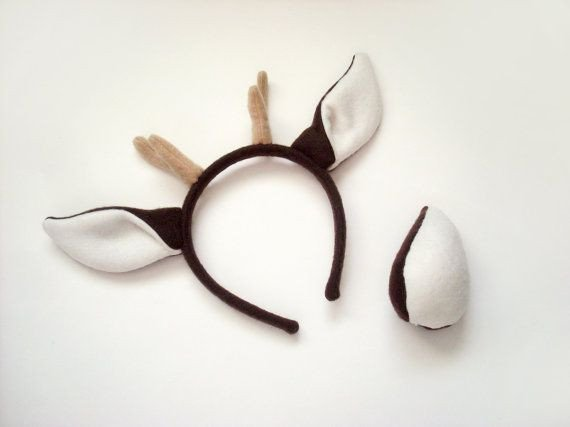 Deer Ear Template Deer Costume Set Brown Ears with Antlers Headband and