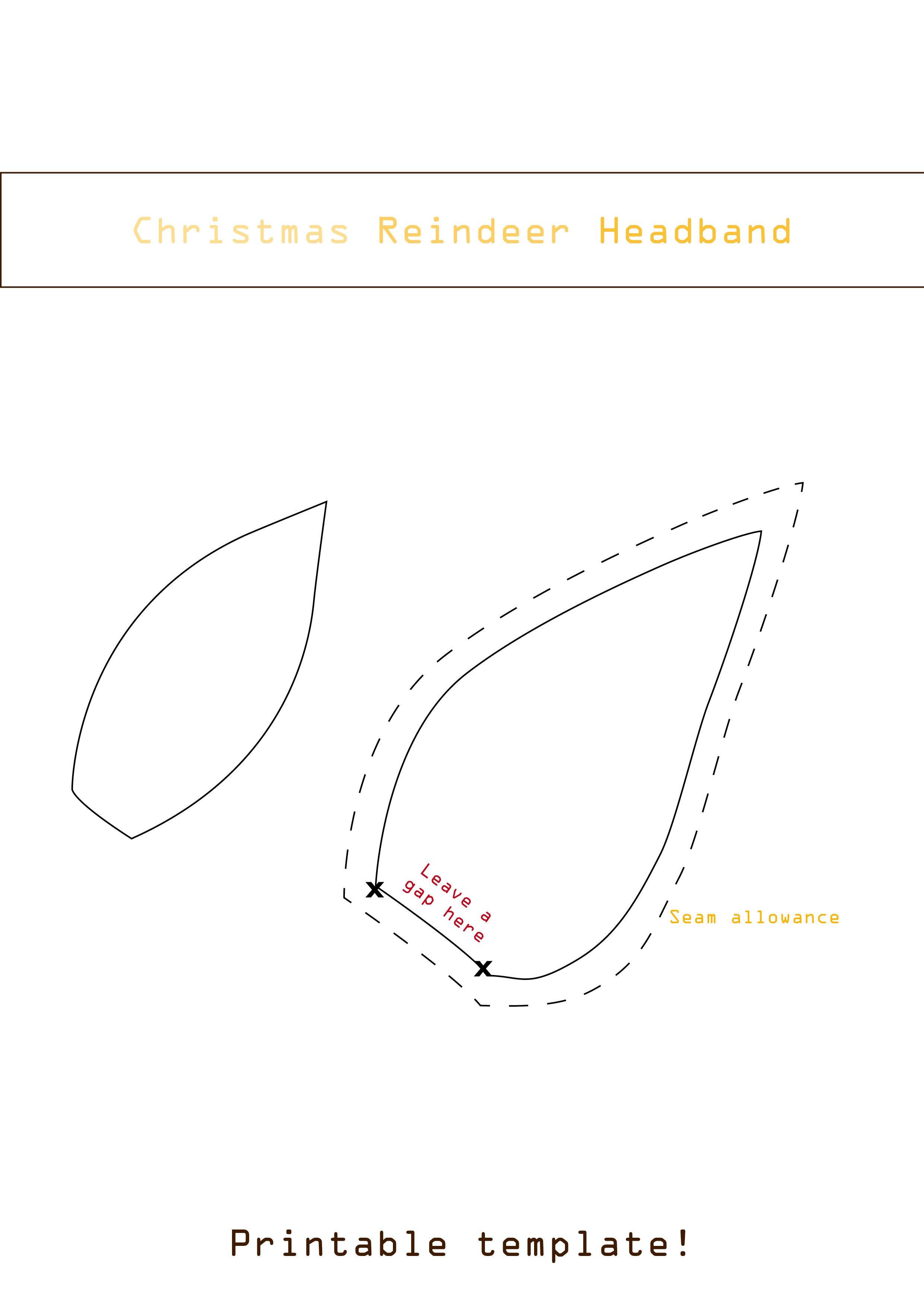 Deer Ear Template Easy Diy Christmas Reindeer Headband for Your Baby
