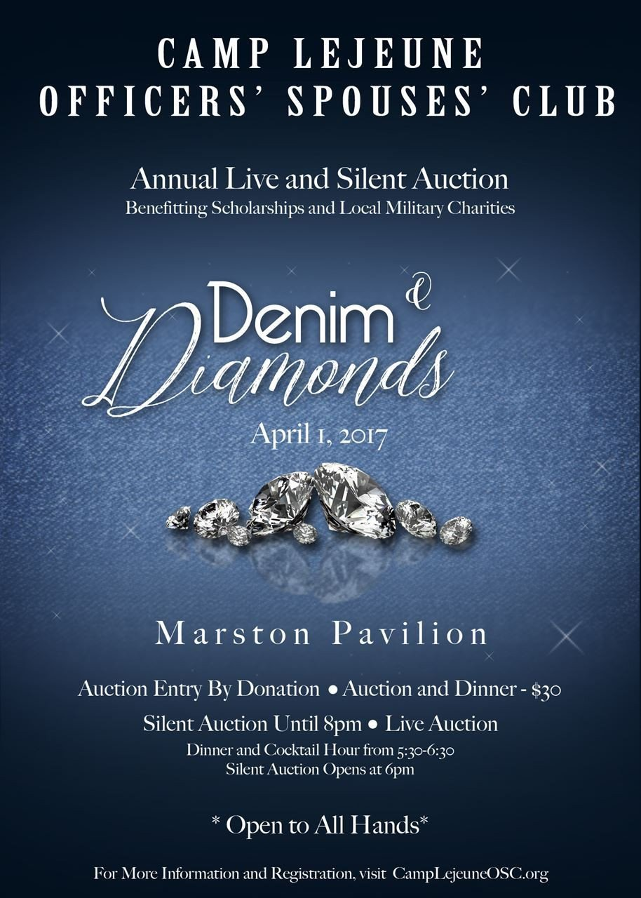 Denim and Diamonds Flyer Camp Lejeune Osc Denim & Diamonds Live and Silent Auction