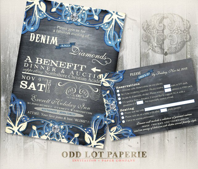 Denim and Diamonds Flyer Denim and Diamonds event Invitation and Rsvp Printable Party
