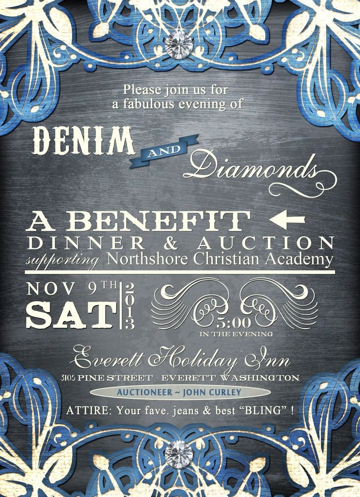 Denim and Diamonds Flyer Denim and Diamonds Mccs Auction Ideas