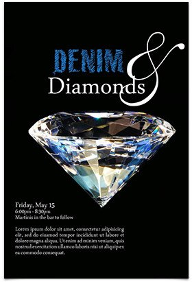 Denim and Diamonds Flyer Denim and Diamonds Private Club Marketing 2019