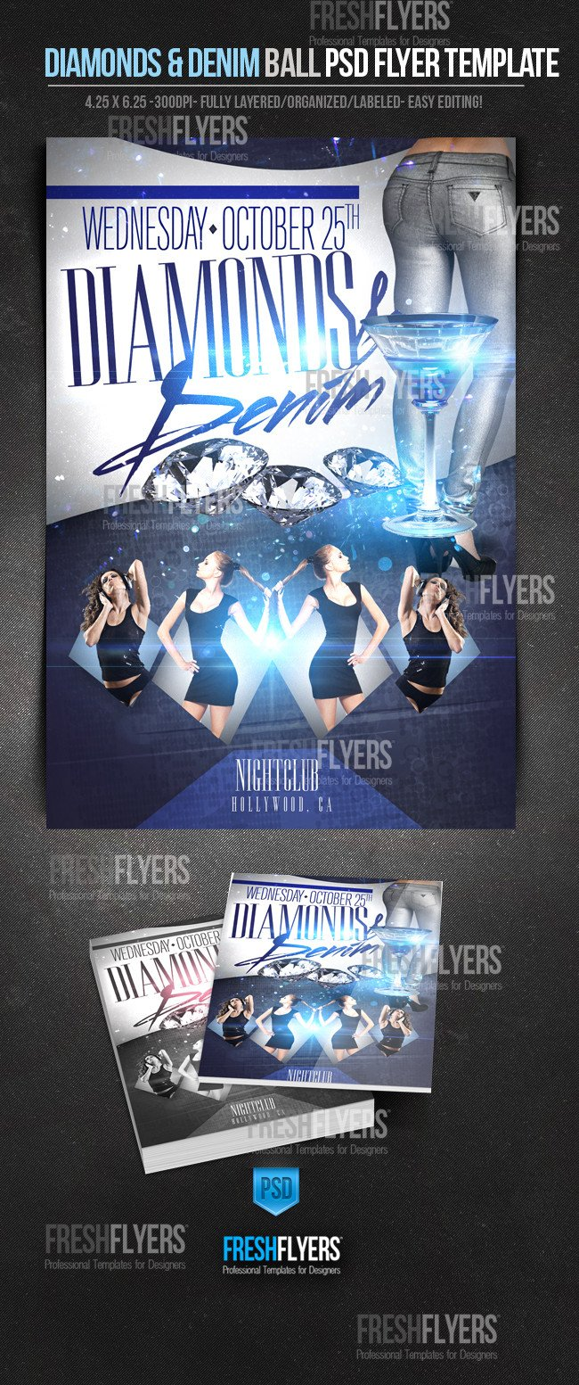 Denim and Diamonds Flyer Diamonds and Denim Psd Party Flyer Template by