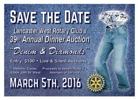 Denim and Diamonds Flyer Lancaster West Rotary to Host 39th Annual Dinner Auction