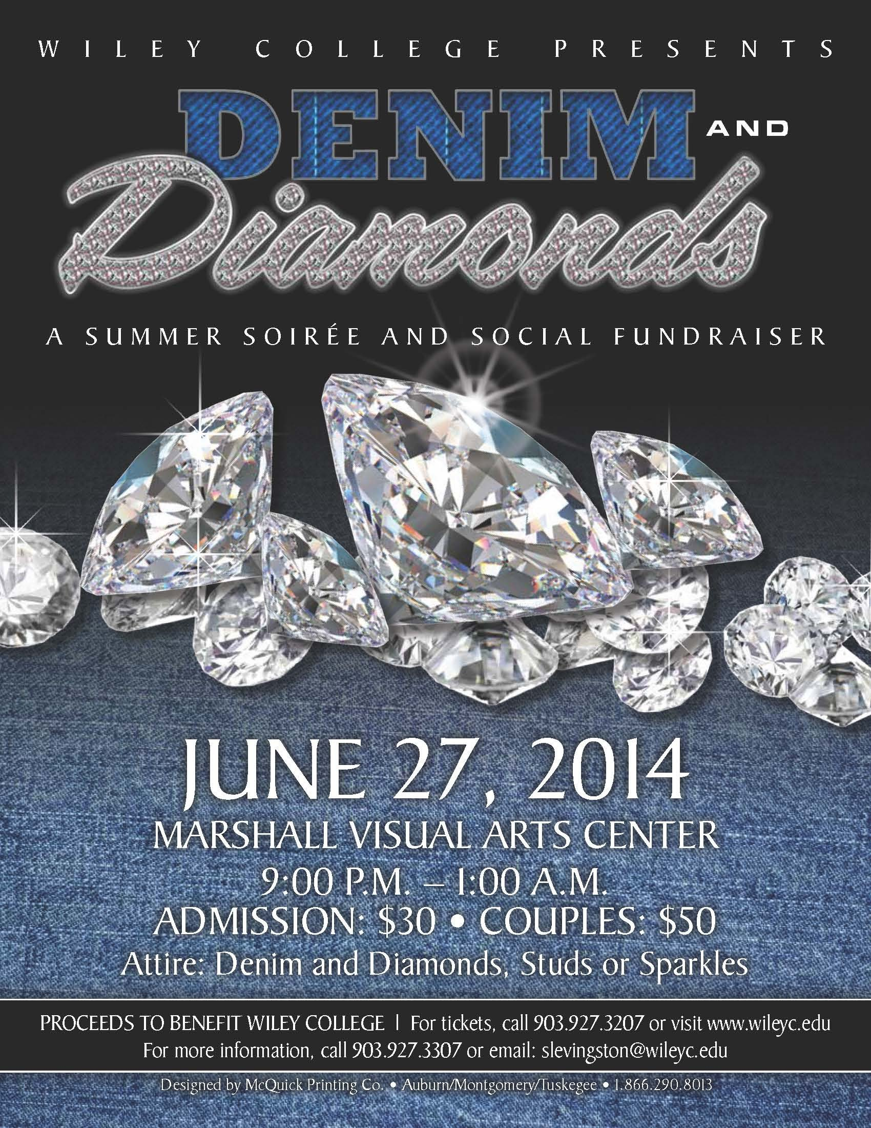 Denim and Diamonds Flyer Wiley College Summer soiree Tickets Fri Jun 27 2014 at