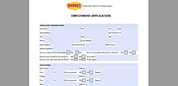 Dennys Job Application form Online Dennys App