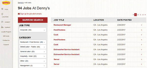 Dennys Job Application form Online Dennys Web 2