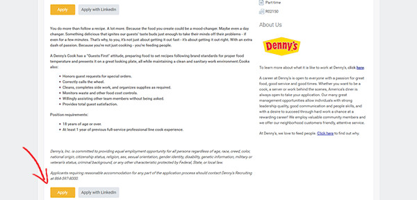 Dennys Job Application form Online Dennys Web 4
