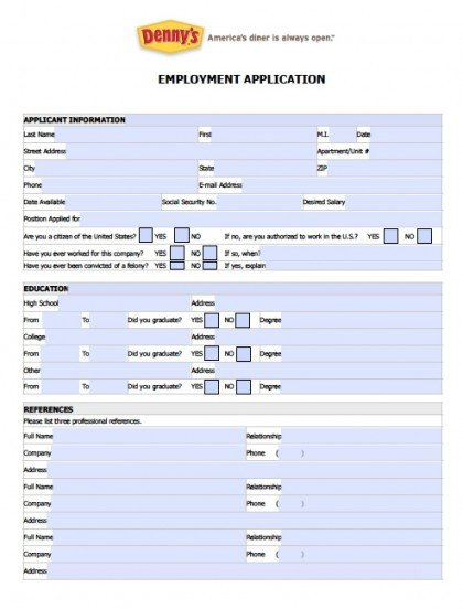 Dennys Job Application form Online Download Fillable Denny S Job Application form