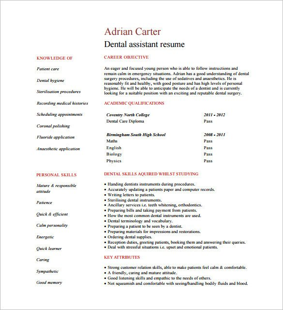 Dental assistant Resume Template 5 Dental assistant Resume Templates Word Psd Ai