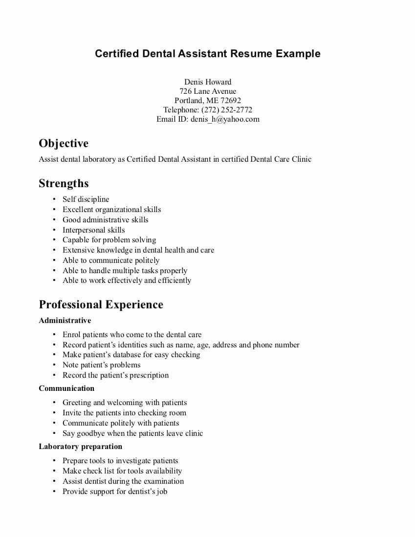 Dental assistant Resume Template 9 Dental assistant Resume Objective Examples