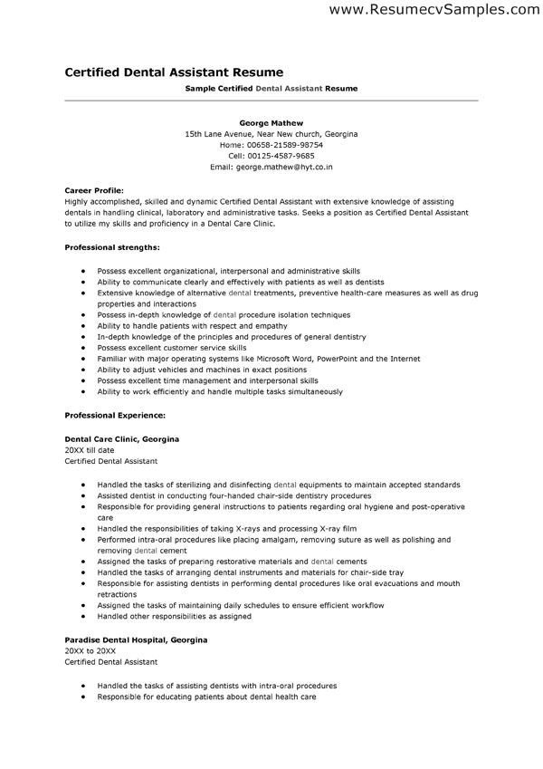 Dental assistant Resume Template Best Resume Examples for Dental assistants the Resume is