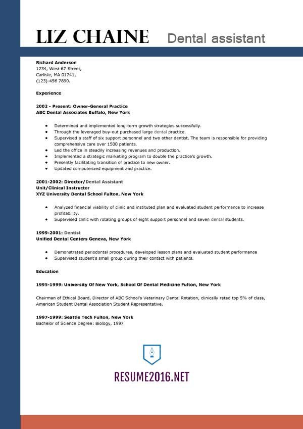 Dental assistant Resume Template Dental assistant Resume Example
