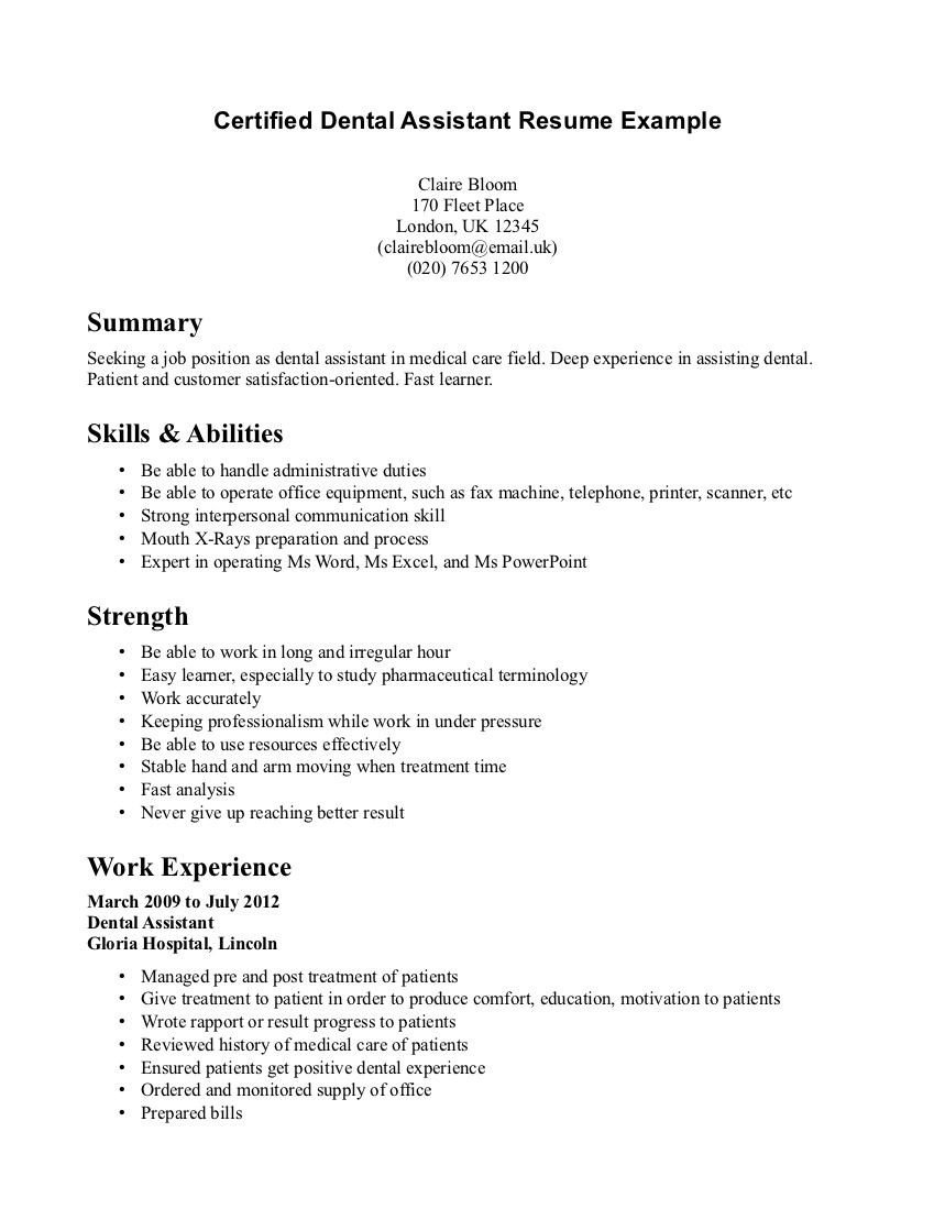 Dental assistant Resume Template Dental assistant Resume Resume