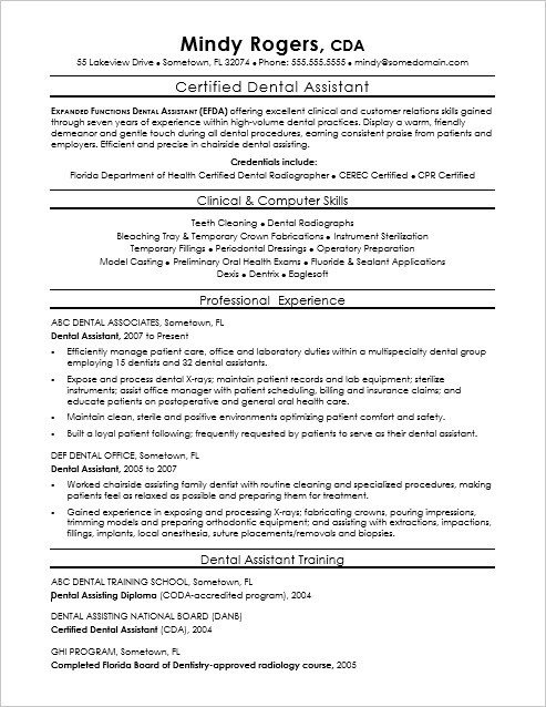Dental assistant Resume Template Dental assistant Resume Sample