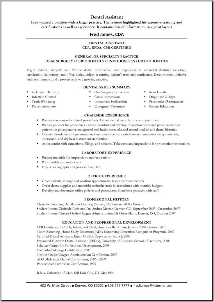 Dental assistant Resume Template Dental assistant Resume Template