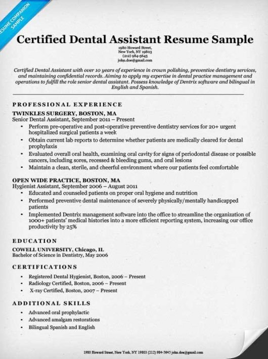 Dental assistant Resume Template Dental Resume Examples & Writing Tips