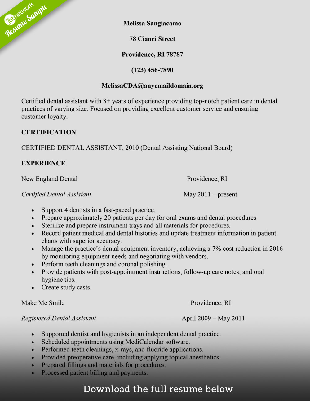 Dental assistant Resume Template How to Build A Great Dental assistant Resume Examples
