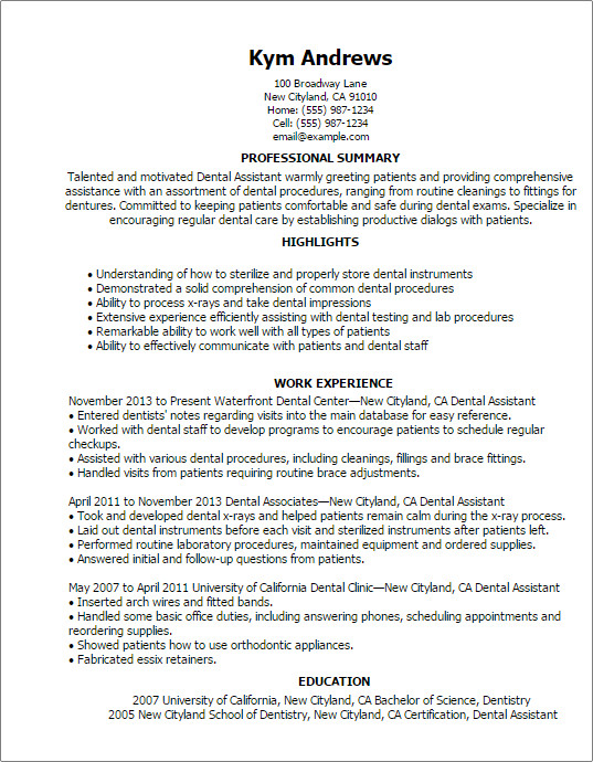 Dental assistant Resume Template Professional Dental assistant Templates to Showcase Your