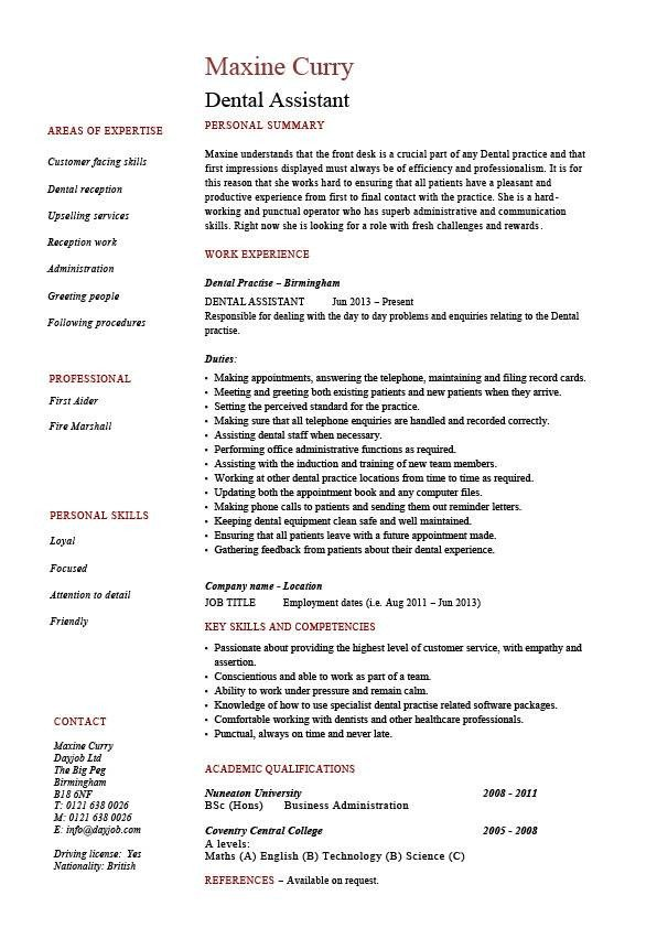 Dental assistant Resumes Template Dental assistant Resume Dentist Example Sample Job