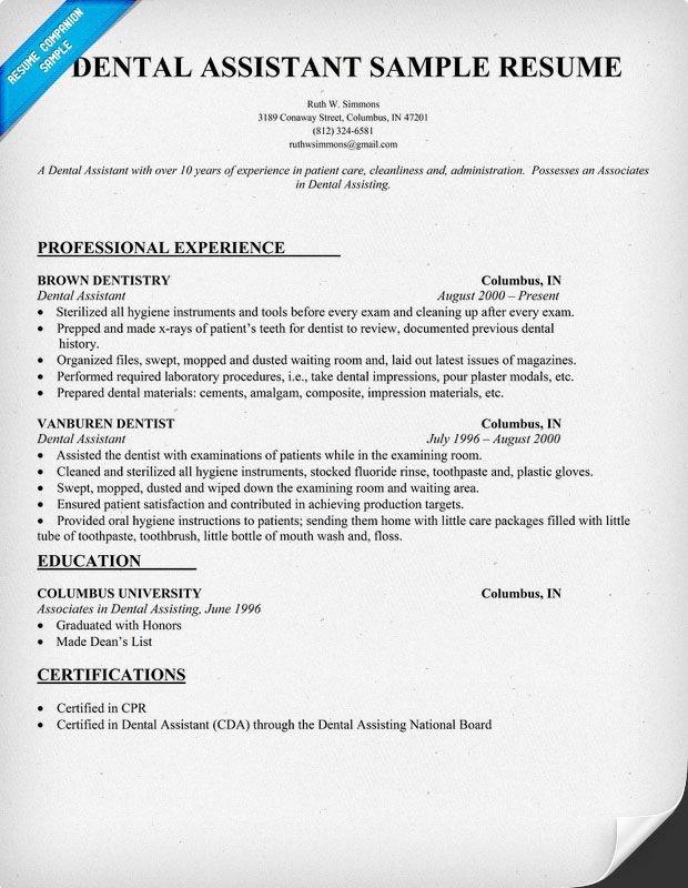 Dental assistant Resumes Template Dental assistant Resume Dentist Health Resume Panion