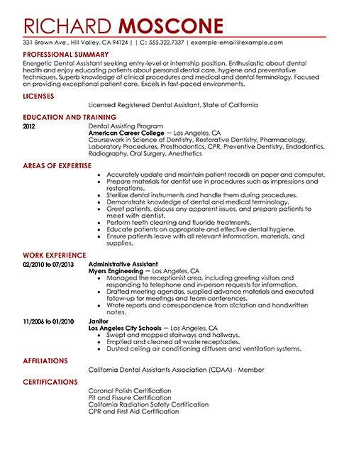 Dental assistant Resumes Template Dental assistant Resume Examples