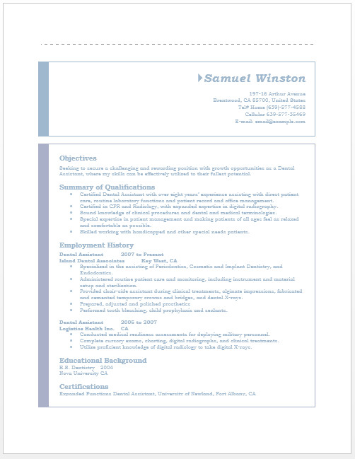 Dental assistant Resumes Template Dental assistant Resume – Microsoft Word Templates
