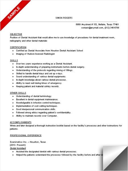 Dental assistant Resumes Template Dental assistant Resume Sample Limeresumes